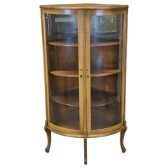 Antique Late Victorian Canadian Oak Corner Display Curio Cabinet