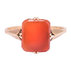 Antique Late Victorian Carnelian Agate Signet Ring