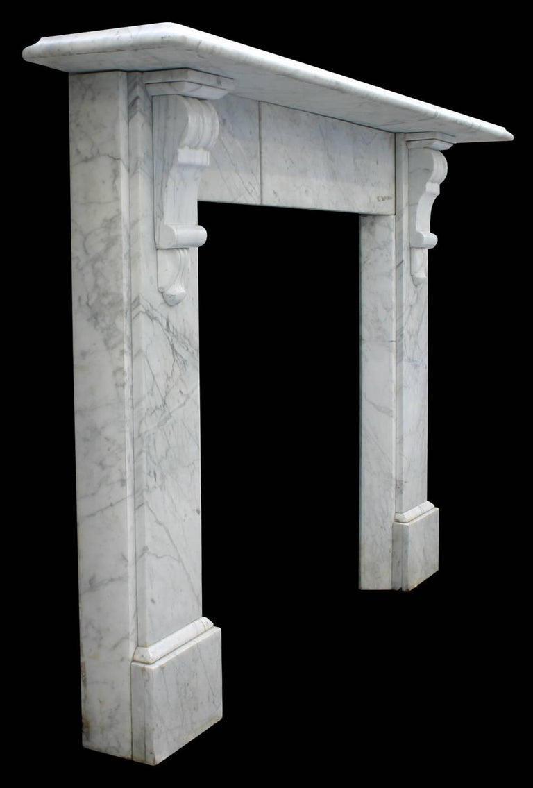 English Antique Late Victorian Carrara Marble Fire Surround For Sale