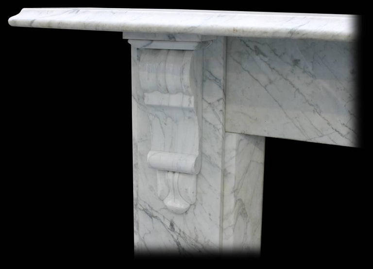 Antique Late Victorian Carrara Marble Fire Surround In Good Condition For Sale In Manchester, GB