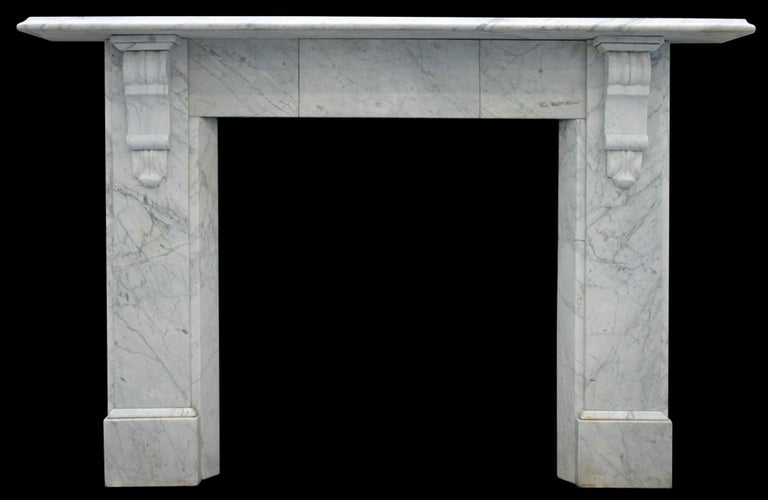 Antique Late Victorian Carrara Marble Fire Surround For Sale 1