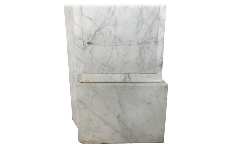 19th Century Antique Late Victorian Carrara Marble Fire Surround For Sale