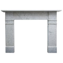Antique Late Victorian Carrara Marble Fire Surround