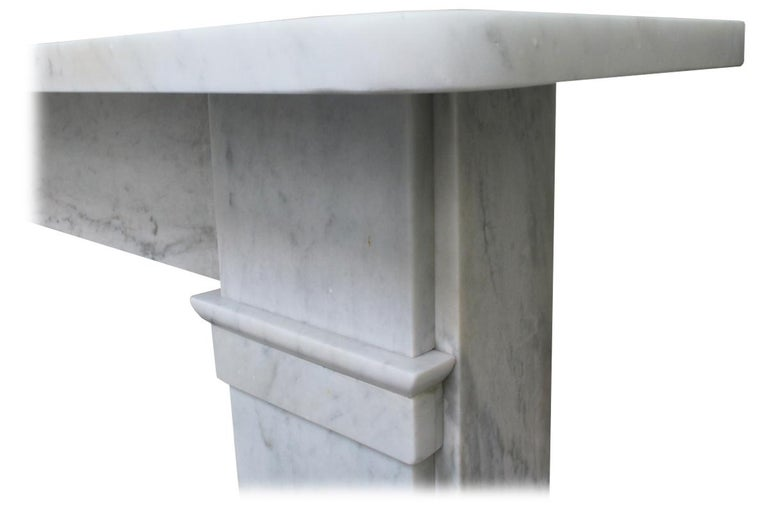 19th Century Antique late Victorian Carrara Marble Fireplace Surround For Sale