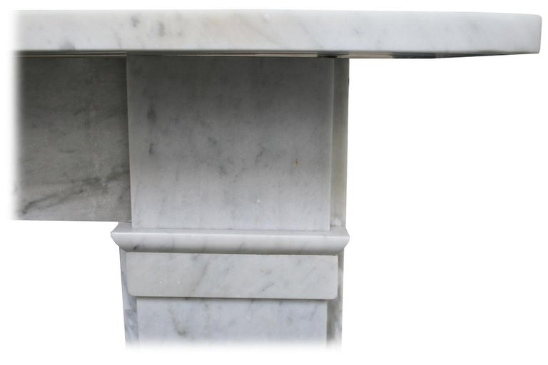 Antique late Victorian Carrara Marble Fireplace Surround For Sale 1