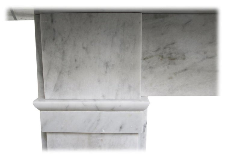 Antique late Victorian Carrara Marble Fireplace Surround For Sale 2