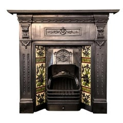 Antique Late Victorian Cast Iron and Tiled Combination Fireplace