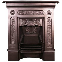 Antique Late Victorian Cast Iron Bedroom Fireplace