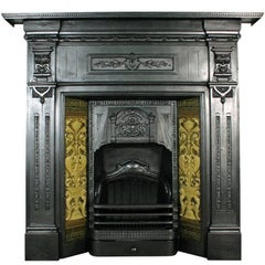 Antique Late Victorian Cast Iron Combination Fireplace with Burmantofts Tiles