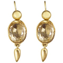 Antique Late Victorian Citrene Drop Earrings in 18 Carat Yellow Gold