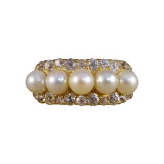 Antique Late Victorian Cultured Pearl and Diamond Old Cut Ring in 18ct Yellow Go