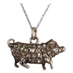 Antique Late Victorian Diamond and Ruby Set Pig in Silver on Platinum Chain