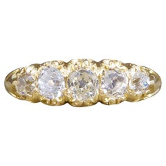 Antique Late Victorian Five Stone Diamond Cushion Cut Ring in 18ct Yellow Gold