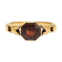 Antique Late Victorian Garnet Octagon Ring