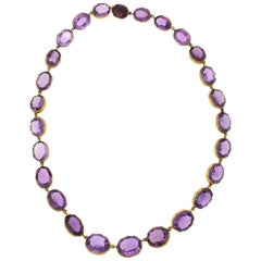 Antique Late Victorian Gold Amethyst Riviere Necklace