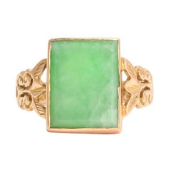 Antique Late Victorian Jade Gold Panel Ring