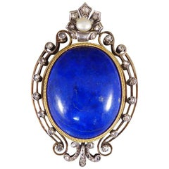 Antique Late Victorian Lapis Lazuli Brooch Pendant Set with Diamonds a Pearl