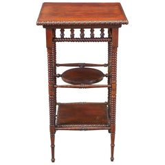 Antique Late Victorian Mahogany Tiered Pedestal Parlor Table Plant Stand