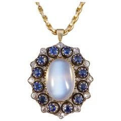 Antique Late Victorian Moonstone Sapphire and Diamond Necklace with Yellow Gold