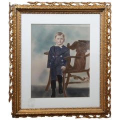 Antique Late Victorian Pastel Painting Portrait of Young Boy Marcel Goffena