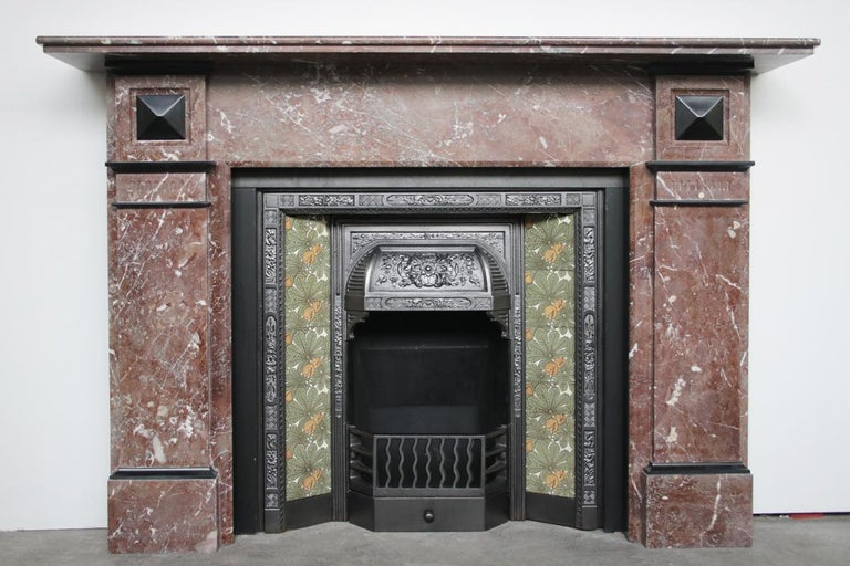 Antique Late Victorian Rouge Marble, Antique Victorian Fireplace Surround
