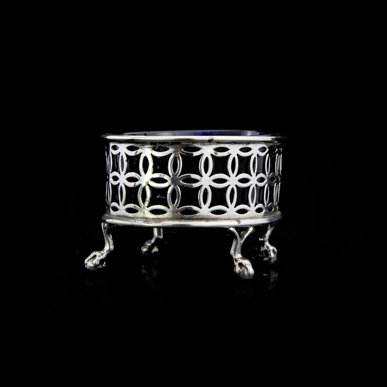Sterling Silver Antique Late Victorian Salt/Pepper Cellars with Blue Glass Liners For Sale