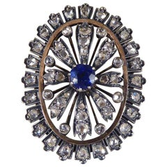 Antique Late Victorian Sapphire and Diamond Cluster Brooch Gold and Silver