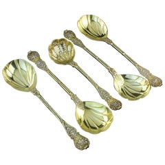Antique Late Victorian Silver and Silver, Gilt Serving Spoon Set