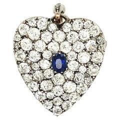 Antique Late Victorian Silver Gold Pave Diamond Sapphire Heart Pin Pendant