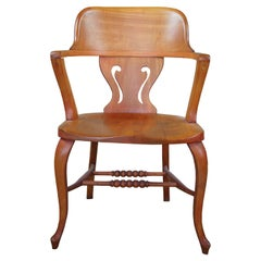 Antique Late Victorian Solid Cherry Saddle Seat Desk Arm Accent Chair