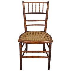Antique Late Victorian Spindle Back Accent Caned Bamboo Accent Chair Colonial