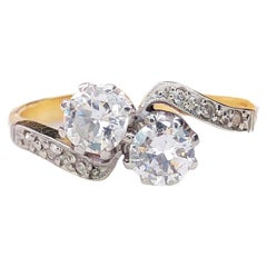 Antique Late Victorian Toi et Moi Ring Diamond Gold Platinum Ring