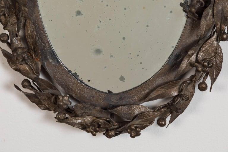 Forged Antique Laurel Leaf Mirror For Sale