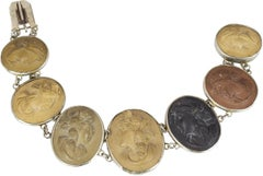 Antique Lava Cameo and Silver Bracelet, Late 1800