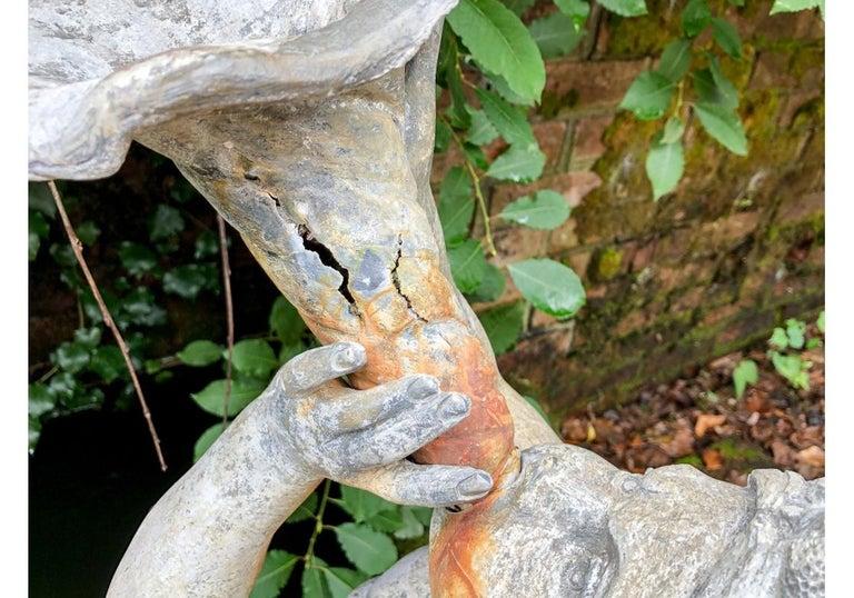 Antique Lead Garden Fountain Figure of Triton For Sale 1