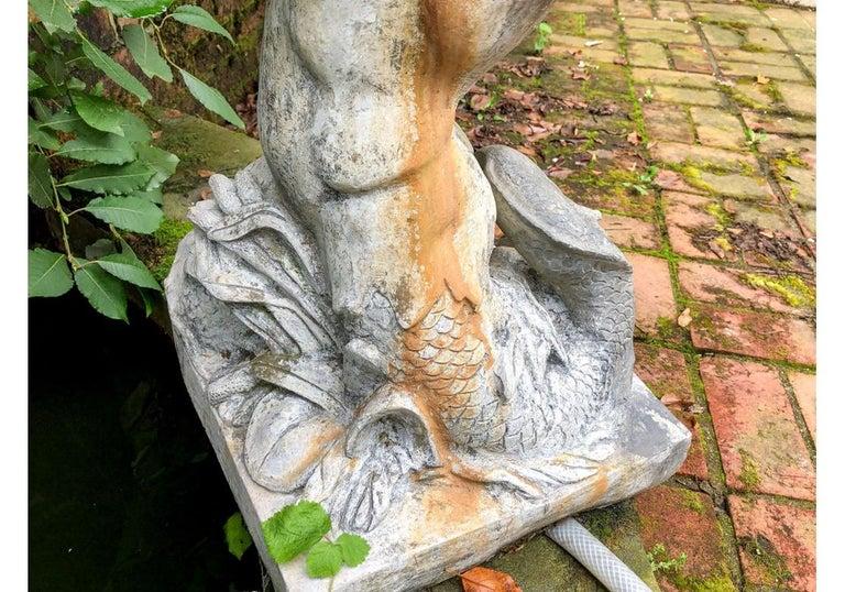 Antique Lead Garden Fountain Figure of Triton For Sale 2