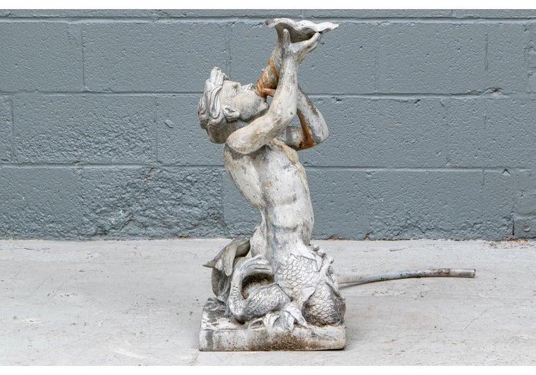 Antique Lead Garden Fountain Figure of Triton For Sale 5