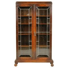 Antique Leaded Glass Two-Door Oak Bookcase, B1710