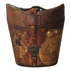 Antique Leather AN & CSL Triple Hat Box with Travel Stamps, Satin Lined, 1880s