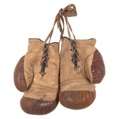 Antique Leather and Horse Hair Children's Boxing Gloves by Yale, circa 1920