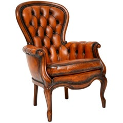 Antique Leather and Mahogany Spoon Back Armchair