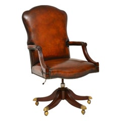 Antique Leather and Mahogany Swivel Desk Chair