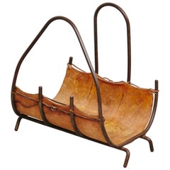 Antique Leather and Metal Firewood Basket, circa 1960