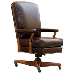 Antique Leather and Walnut Armchair, Refinished