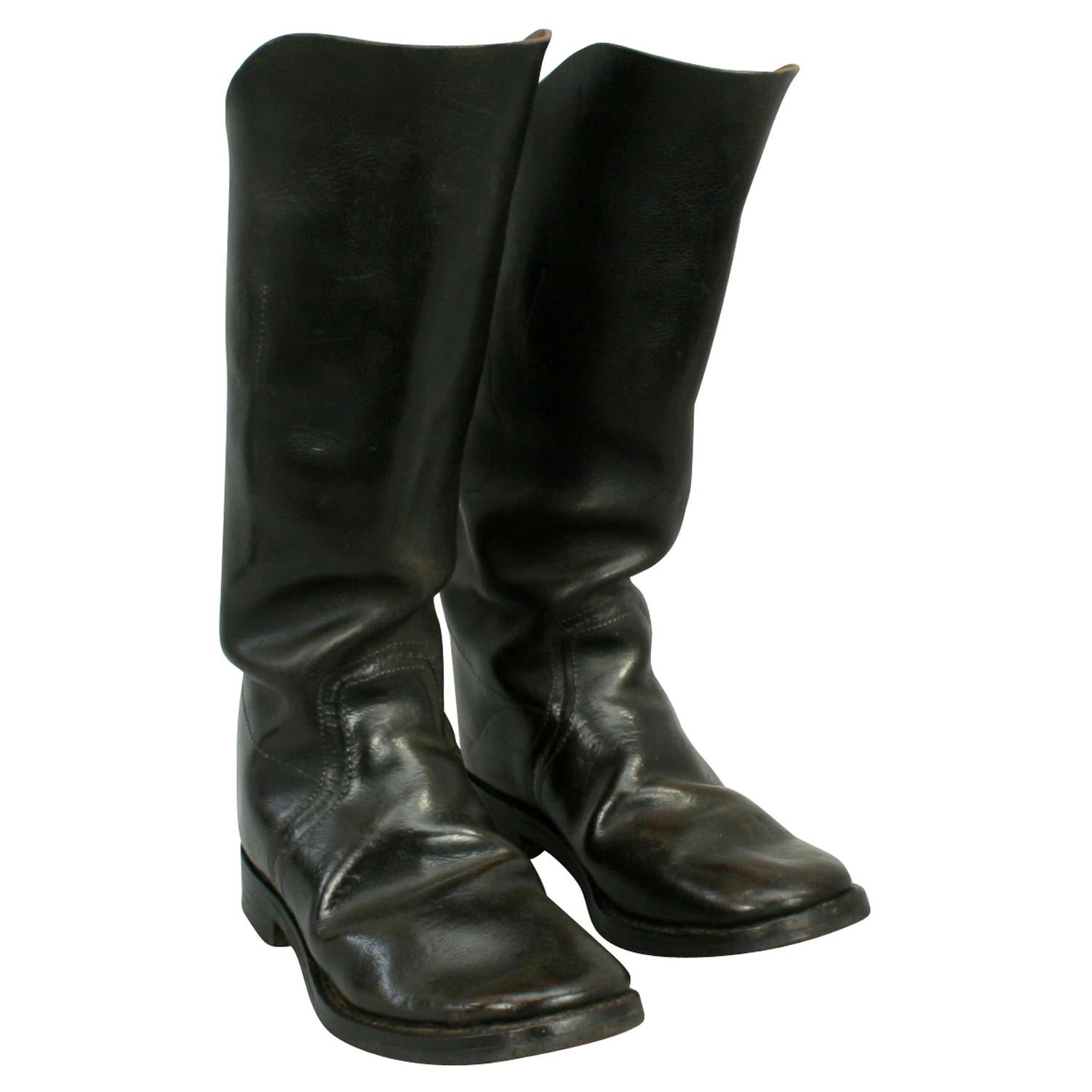 Antique Leather Army Boots, Artillery