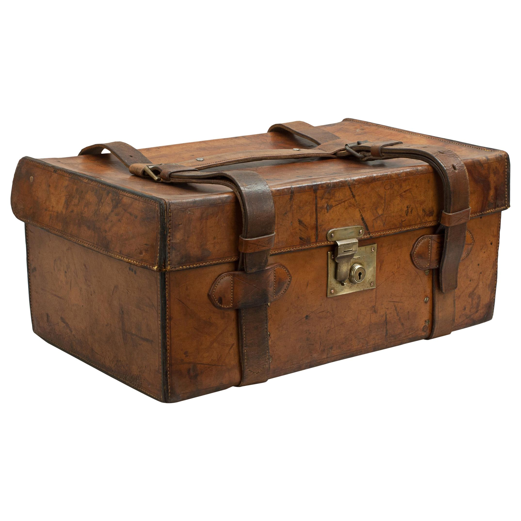 Antique Leather Fishing Trunk by Farlow