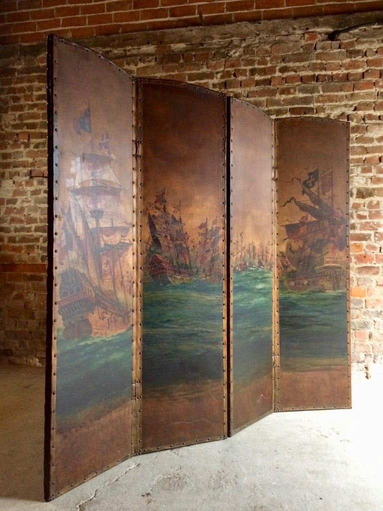 Antique Leather Four Fold Screen Hand Painted Naval