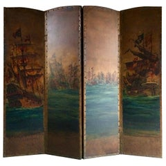 Antique Leather Four Fold Screen Hand Painted Naval Interest, Early 20th Century