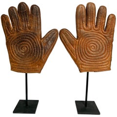 Antique Leather Handball Gloves on Custom Made Steel Stands Pair