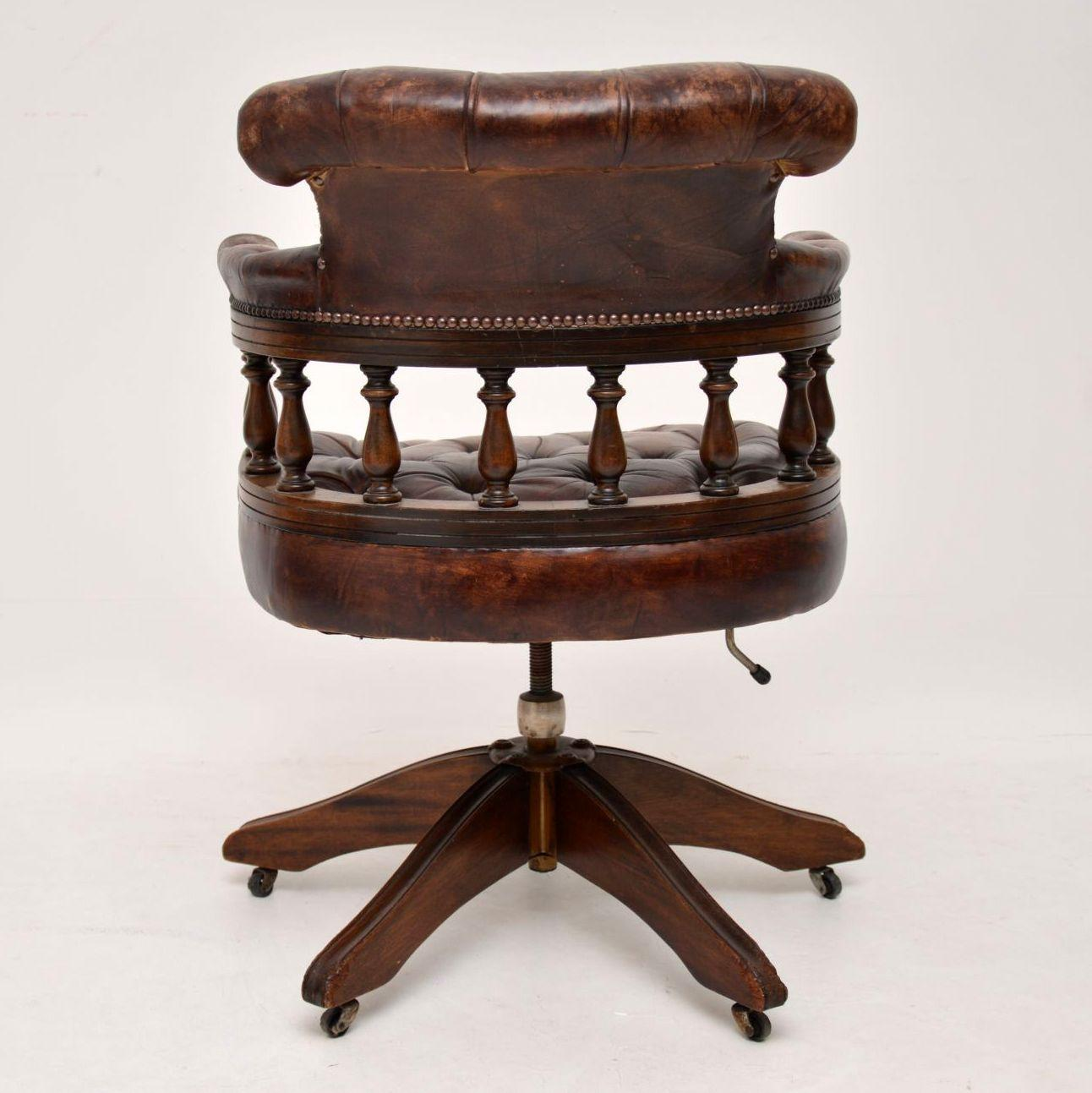 Antique Leather And Mahogany Desk Chair At 1stdibs